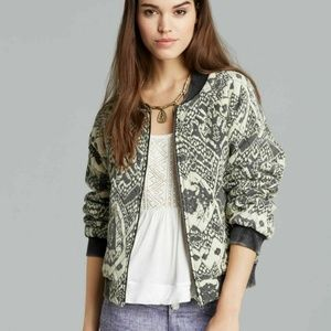 New Free People Printed Quilted Bomber Zip Jacket